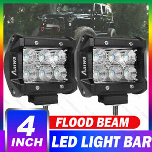 2x 4 Inch 18w Cree Led Work Lights Pods Flood Offroad Lamp For Atv Jeep Ute