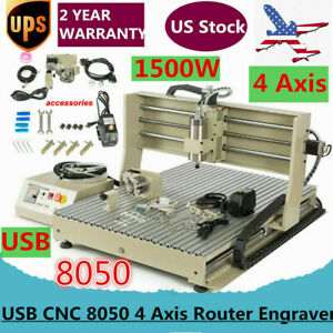Usb Cnc 8050 4 Axis Router Engraver Wood Metal Carving Milling Machine 1 5 Kw
