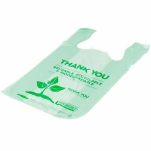 500 Pcs Tshirt Bag Biodegradable Shopping Thank You Compostable Grocery Bags Eco