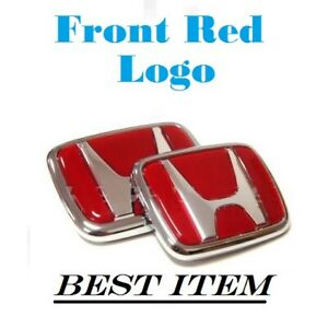 Red Honda Emblem Jdm Style Type R Civic Acura Integra Rsx Accord Badge Logo 2 Pc