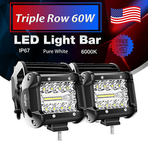 2pcs 4 inch 12v 60w Led Work Light Bar Spot Flood Pods Driving Off road Tractor
