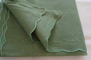 Vintage Forest Green Linen Banquet Tablecloth Hand Stitched Scallops 104