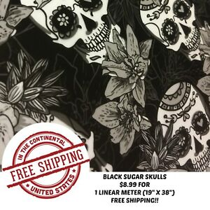 Hydrographic Film Water Transfer Printing Film Hydro Dip Sugar Skulls Black