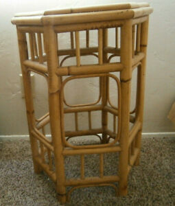Vintage Tiki Rattan Bamboo And Cane End Table Hexagon Shaped Mid Century 1950 S