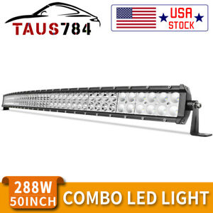 Curved 50inch Led Light Bar 2w Flood Spot Combo Roof Driving Boat Suv 4wd 52
