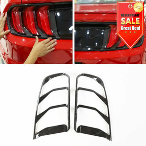 2pcs Carbon Fiber Abs Rear Bumper Tail Light Lamp Cover For Ford Mustang 2018 19