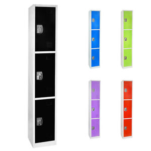 Adiroffice Steel 3 Door Compartment Key Lock Office Gym Storage School Locker