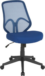 High Back Navy Mesh Office Task Chair With Built in Lumbar Support