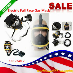 New Electric Constant Flow Supplied Air Fed Full Face Gas Mask Respirator System