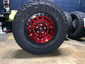 17x9 Fuel D632 Zephyr Red Wheels Rims 33 At Tires 6x5 5 Fits Toyota Tacoma