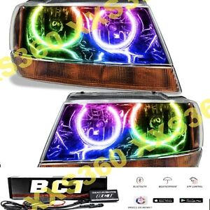 Oracle Halo 2x Headlights Black For Jeep Grand Cherokee 99 04 Colorshift Bc1