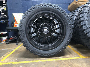 22x10 Mayhem Cogent Black 33 Mt Wheels Rims Tires Package 6x135 Ford F150 Raptor