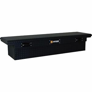 Low Profile Crossover Truck Tool Box With Removable Tray Aluminum Matte Black