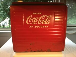 antique coca cola cooler metal collectible 1960s-70s