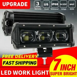 2x 7inch 60w Spot Beam Slim Led Work Light Bar Single Row Car Suv Off Road Lamps