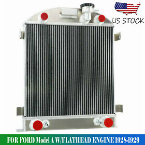 For 1928 1929 Ford Model A Flathead Engine 3 Rows Aluminum Radiator