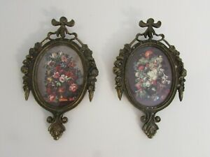 Vintage Gold Metal Ornate Italian Miniature Floral Print Framed Pictures Pair