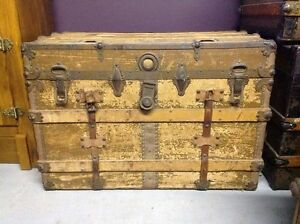 Rare Antique Steam Trunk Sotco New York Basswood Will Not Break 1800s