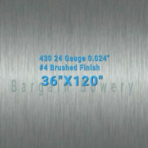 430 Stainless Steel Sheet Wall Covering 4 Brushed 24 Gauge 0 024 3 X 10