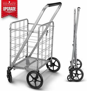 Newly Released Grocery Utility Flat Folding Shopping Cart with 360 Rolling Swiv