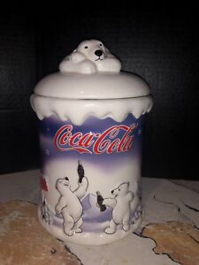 2002 Houston Harvest Coca Cola Cookie Jar With Polar Bear Party With Coke