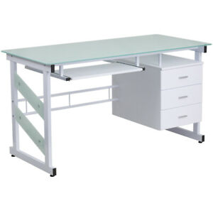 White Computer Desk With Frosted Glass Top And Three Drawer Pedestal In White