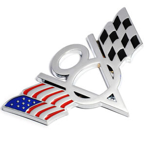 Car V8 Flag Emblem Badge Decal 3d Sticker Metal Fit For Chevrolet Chevy Corvette