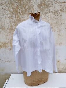 Antique Old French Victorian 1900 White Cotton Hand Embroidered Blouse Size S M