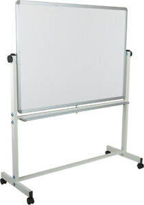 53 w X 62 5 h Double sided Mobile White Presentation Board With Pen Tray