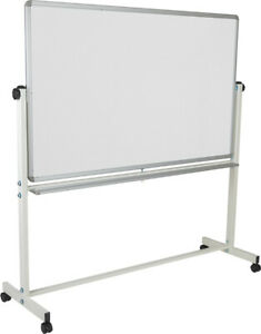 64 25 w X 64 75 h Double sided Mobile White Presentation Board With Pen Tray