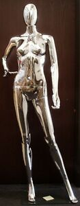 Chrome Plastic Female Egg Head removable Mannequin With Square Glass Base