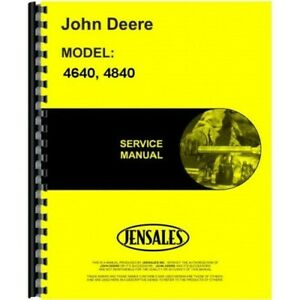 John Deere 4640 4840 Tractor Service Repair Manual Tm1183 Chassis Only