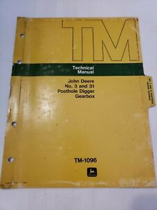 John Deere 3 31 Posthole Digger Gearbox Technical Service Manual Tm1096
