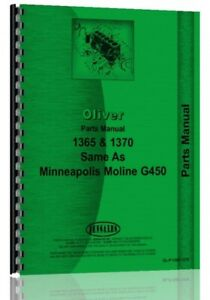 Oliver 1365 1370 Tractor Parts Manual Catalog Minneapolis Moline G450