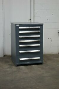 Used Stanley Vidmar 7 Drawer Cabinet 44 Inch Industrial Tool Box Storage 1844