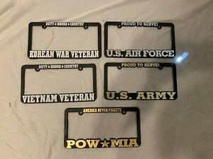 License Plate Frame Us Military Proud To Serve Veteran Pow Mia Raised Letters