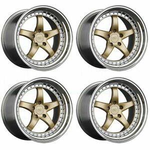 4 new 18 Xxr 565 Wheels 18x8 5 5x114 3 20 Hyper Gold Platinum Lip Rims