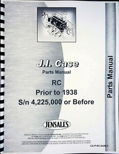 Case Rc Tractor Parts Manual Catalog Sn 0 4225000