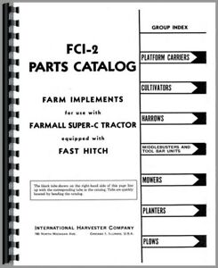 Parts Manual Farmall Super C Tractor Implement Fast Hitch Attachments