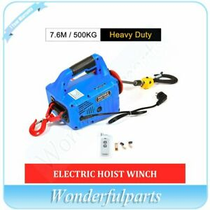 500kg X 7 6m Portable Household Electric Hoist Winch With Wireless Remote 110v
