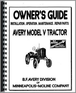 Parts Manual Operators Avery Minneapolis Moline V Plow