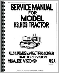 Allis Chalmers Hd3 H3 Crawler Tractor Service Repair Manual
