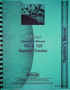 Oliver 105 125 Garden Tractor Owners Operators Manual