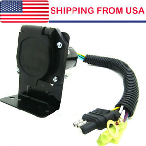 New 4 Flat To 7 Way Rv Trailer Light Plug Wire Harness Converter Adapter