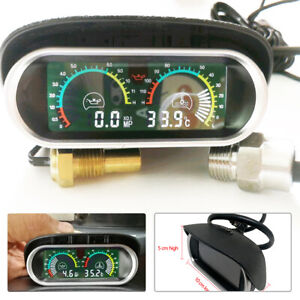 Car Truck Lcd Digital Water Temperature Oil Pressure Gauge Panel Universal Kit