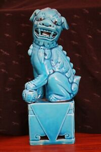 Vintage Foo Dog Turquoise Blue Glaze 8 In Height 380g