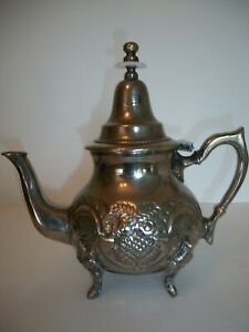 Vtg Moroccan Turkish Handmade Footed Brass Silver Plated Teapot 3 Cup 8 Tall