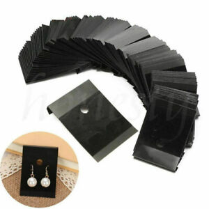 100x Black Plastic Earring Ear Studs Hanging Holder Stands Display Hang Cards Us