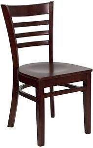 Mahogany Finished Ladder Back Wooden Restaurant Chair