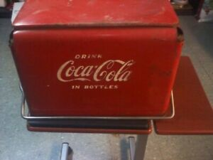 ~Vintage Drink Coca Cola Cooler Ice Chest Original Red Metal 1950s  Acton MFG ~
